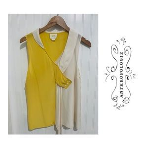 Anthropologie Maeve yellow drapey dyad silk Top 12